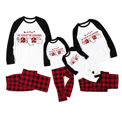 SANFASHION Pyjama de Noël Famille Pyjama Ensemble Assorti Vêtements de Nuit Impression de Noël Sweat Manche Longue Chemise + Pantalon Long Tops Shirt Hiver Tenues Noël Papa Maman Enfant Homme Femme