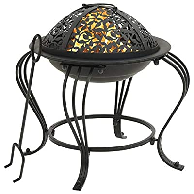 vidaXL Fire Pit with Poker Fire Bowl Patio Heater Fireplace House Outdoor Garden Furnace Heating Decoration with Cover 49 cm Steel from vidaXL