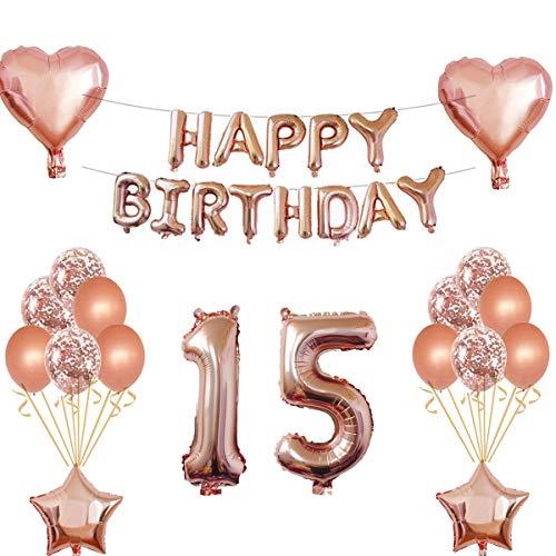 Oumezon 15 Geburtstag Mädchen Dekoration Rose Gold, 15. Geburtstag deko für Mädchen Jungen Happy Birthday Girlande Banner Folienballon Konfetti Luftballons Deko Geburtstag Party Anzahl Ballons