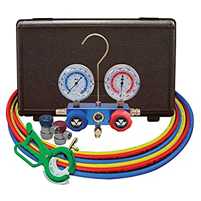 "MASTERCOOL (98661-PRO Blue R134a and R12 Dual Manifold Gauge Set with 2 Sets 60"" Hoses, Manual Couplers and Side Mount Can Tap Valve"