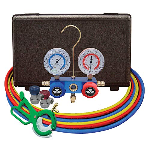 MASTERCOOL (98661-PRO Blue R134a and R12 Dual Manifold Gauge Set with 2 Sets 60' Hoses, Manual Couplers and Side Mount Can Tap Valve