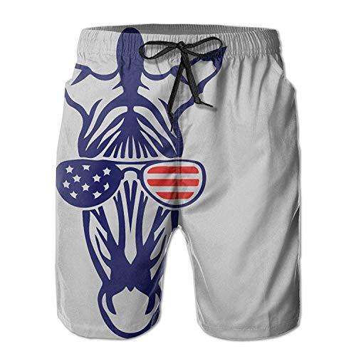 Saoye Fashion J Corner Mens Zebra Flag Funny Summer Kleidung Swim America Breathable Casual Trunks Beach Shorts Board Shorts (Color : Gray, Einheitsgröße : XL)