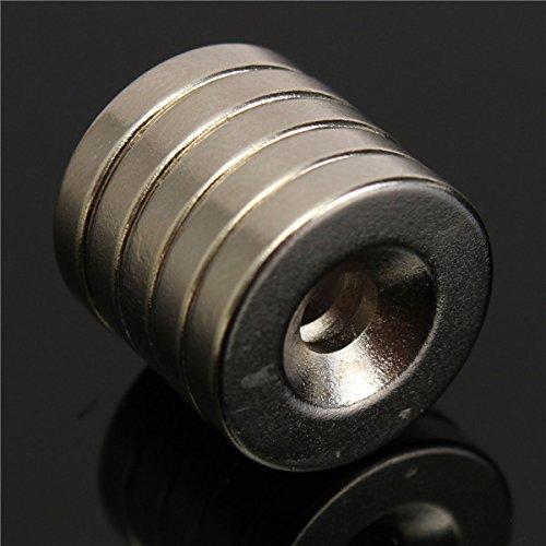 Wuchance 5 Stück N52 15 x 3 mm 4 mm Lochmagnete, rund, starke Neodym-Magnete aus seltenen Erden, Zubehör für Maschinen