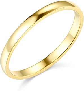 14k Yellow OR White Gold 2mm SOLID COMFORT FIT Plain Wedding Band