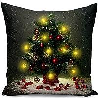 Copricuscino natalizio con luci a LED. Basta inserire la batteria, molto adatto per decorare casa, divano, auto e come regalo di Natale. Ogni copricuscino ha circa 10 LED. Materiale di alta qualità: realizzato in cotone e lino, naturale ed ecologico....