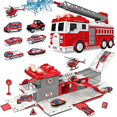 Fire Truck Transport Car Play Vehicles Set, 7 Mini Die-Cast Firetruck Toy w/Real Siren Sounds Lights, Water Pump, Extendable Ladder, Christmas Birthday Gift for Kids Toddlers 3 4 5 6 7 8 Year Old Boys by Eighty8