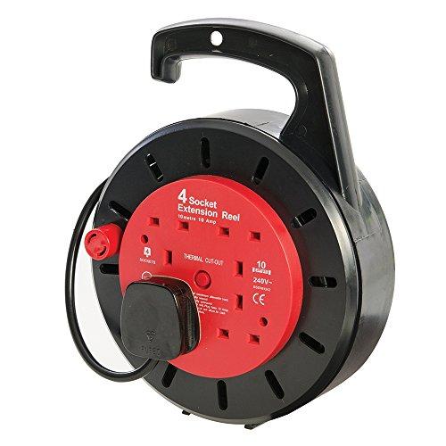 Power Master 619747 gesloten Britse kabelhaspel, 240 V, 4 Britse stopcontacten 10 A, 10 m