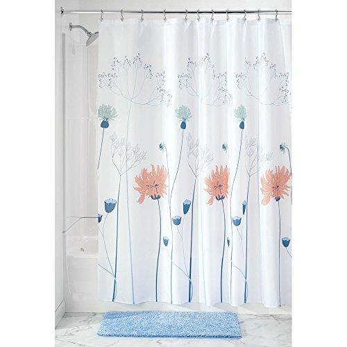 iDesign Floral Meadow Duschvorhang   Design Duschvorhang mit stabiler Aufhängung   zeitlos schöner Badewannenvorhang mit Wiesen-Motiv   Polyester blau/koralle