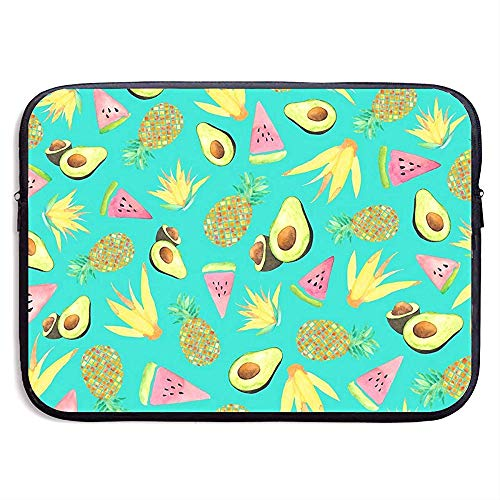 Waterdichte Computer Tas, Laptop Sleeve Hoes, Zakelijke Aktetas Mes, Tropische Fruit Ananas Watermeloen Avocado Compatibele Notebook Bag Case, Tablet Case Cover,Laptop Sleeve Bag