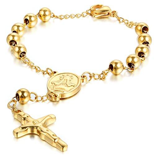 JewelryWe Schmuck Herren Damen Armband, Jesus Kruzifix Kreuz Kugel Armkette Armreif, Edelstahl, Gold