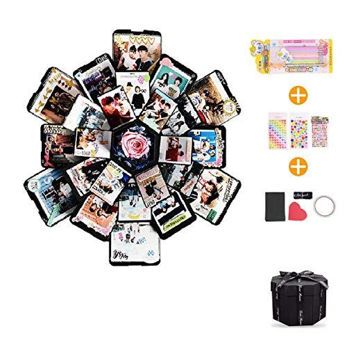 EKKONG Explosion Box Scrapbook Creative DIY Photo Album de Accesorios para cumpleaños Aniversario Boda San Valentín Día de la Madre Navidad,La Caja de Regalo con 6 Caras (Negro)