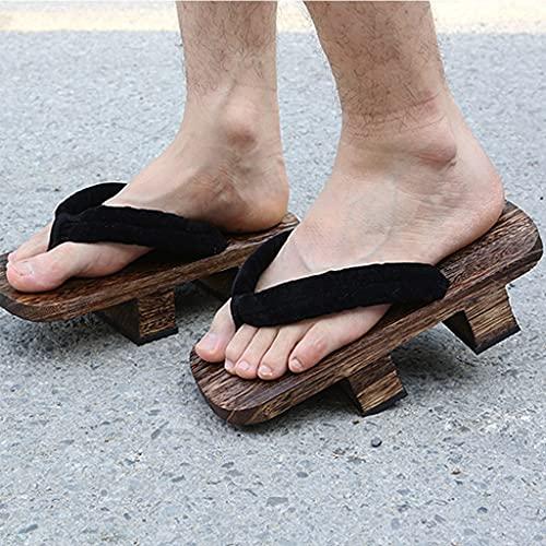 YXCKG Zapatillas para Mujeres/Hombres, Chanclas Hombre Verano Playa Piscina, Zapatos Japoneses De Dos Dientes, Sandalias De Madera Flip Flop Sandalias Tradicionales Japonesas Zapatos De Madera