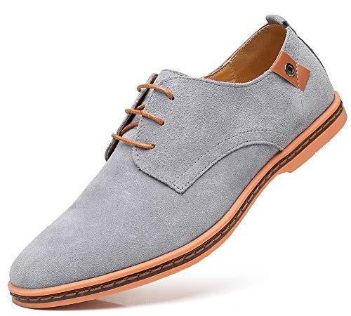CAGAYA Herren Freizeit Schuhe aus Leder Business Anzugschuhe Atmungsaktiv Lederschuhe Oxford Halbschuhe Party Hochzeit übergrößen 38-46 (45 EU, Grau-077)
