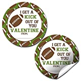 Football Valentine Party Favor Sticker Labels for Boys, 40 2' Party Circle Stickers by AmandaCreation, Great for Classroom Valentines, Envelope Seals, Gifts & Treats