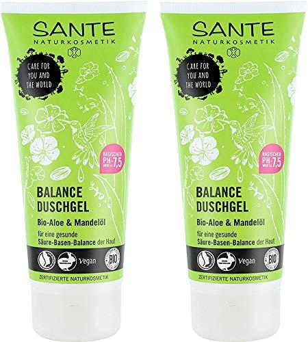 SANTE Natuurcosmetica Balance douchegel, voor een gezonde zuur-basisbalans van de huid, veganistisch, met biologische aloë en amandelolie, 2 x 200 ml dubbelverpakking