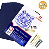 Raimarket 105 Pcs includes 100 Carbon Paper Blue,5 Tracing Papers, 2 Mechanical Pencils & 1 Embossing Stylus Set for Wood Copy, Craft and Embroidery | Premium Quality Graphite & Transfer Paper