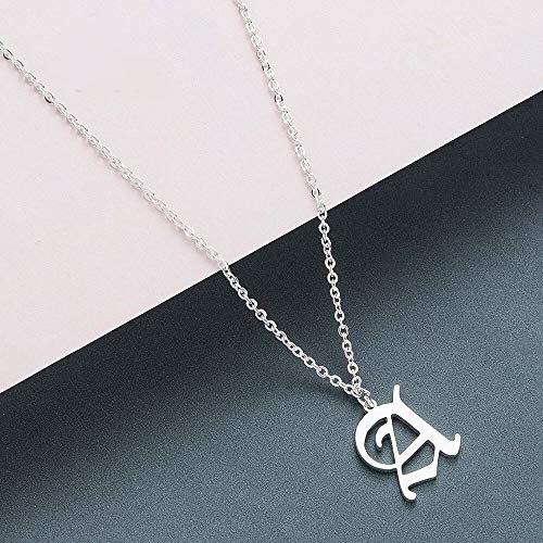 VCX Oude Engels Custom Hoofdstad Initial A-Z Letter hanger ketting mannen Vintage Font Sieraden Vrouwen sieraden (Main Stone Color : Silver, Metal Color : X)
