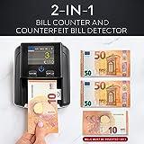 Geldscheinprüfer & Geldzählmaschine Scheine 2in1 - Geldschein Prüfgerät Falschgelderkennung mit UV/MG/IR für falsche Euro, Pfund, Dollar Scheine - Mobiler Scanner Test leicht & kompakt - 2