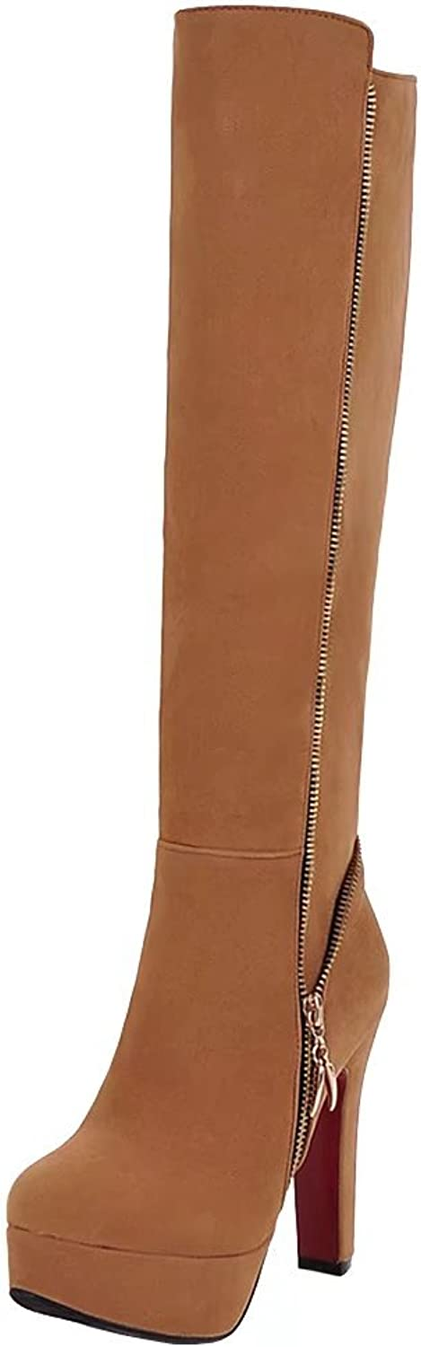 AIYOUMEI Women's Round Toe Thick Heel Zipper Winter Platform Knee High Boots