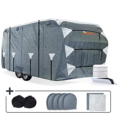 KING BIRD Upgraded Travel Trailer RV Cover, Extra-Thick 5 Layers Anti-UV Top Panel, Durable Camper Cover, Fits 27'- 30' Motorhome -Breathable, Watertight, Rip-Stop with 2Pcs Straps & 4 Tire Covers