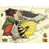 Lancaster 1869 Pictorial Map Spain Portugal Bear Lady Art Print Canvas Premium Wall Decor Poster Mural Carte Espagne Le Portugal Ours Mur Déco Affiche