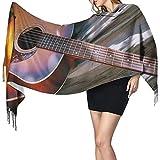 Elaine-Shop Acuarela Guitarra acústica Estampado Cachemira Bufanda Mujer Casual Bufanda cálida Abrigo Chal grande