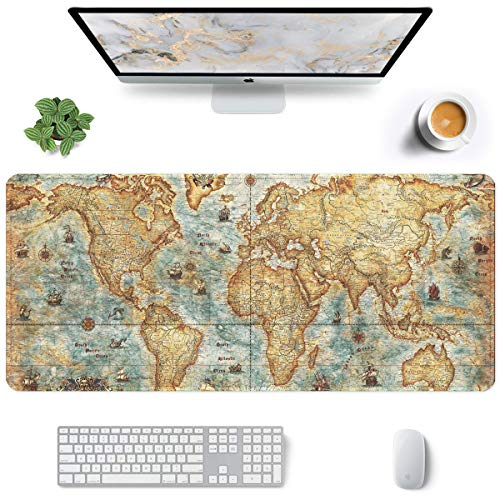 Auhoahsil Large Mouse Pad, Full Desk XXL Extended Gaming Mouse Pad 35' X 15', Waterproof Desktop Mat with Stitched Edge, Non-Slip Laptop Computer Keyboard Mousepad for Office & Home, World Map Design