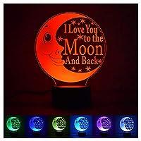 LOVE Moon 3Dナイトライト、スマートホームテーブルランプ省エネボタンスイッチLEDライト、子供の誕生日/クリスマスギフトナイトライト