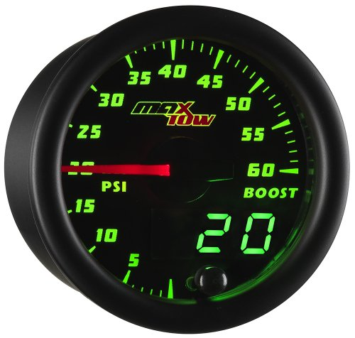 MaxTow Double Vision 60 PSI Turbo Boost Gauge Kit - Includes Electronic Pressure Sensor - Black Gauge Face - Green LED Illuminated Dial - Analog & Digital Readouts - for Diesel Trucks - 2-1/16