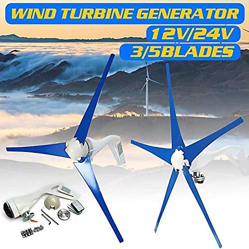 SISHUINIANHUA 6000W 12V / 24V del Viento generador de turbinas 3/5 Palas de aerogeneradores de energía eléctrica del generador con el regulador para Uso casero Solar Farola,12v,3 Blades