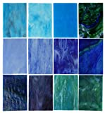 Lanyani 10 Sheets Variety Stained Glass Sheets Pack, 4 x 6 inch Large Cathedral Glass Mosa...