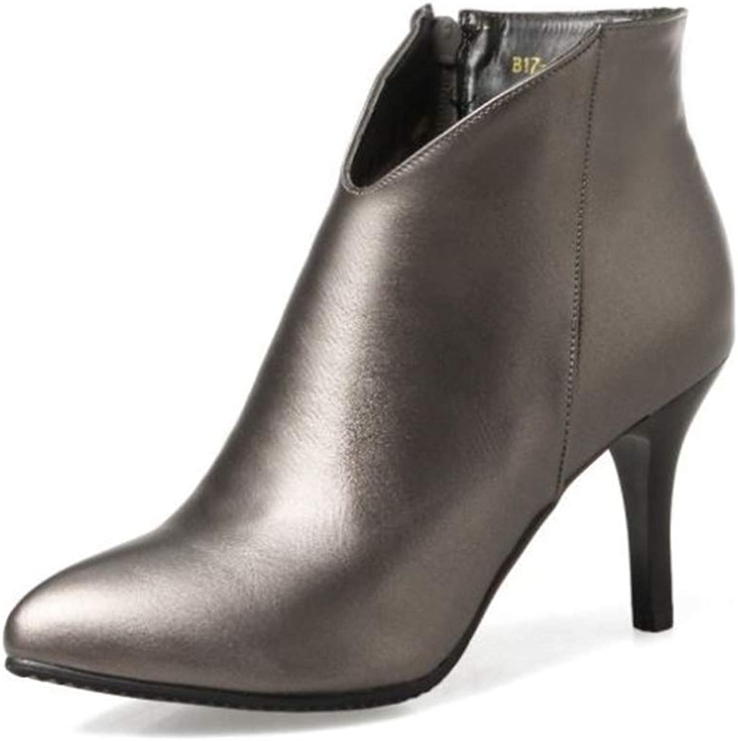 CHENSF Women High Heels Ankle Boots Pointed Toe Slip On Stilettos shoes