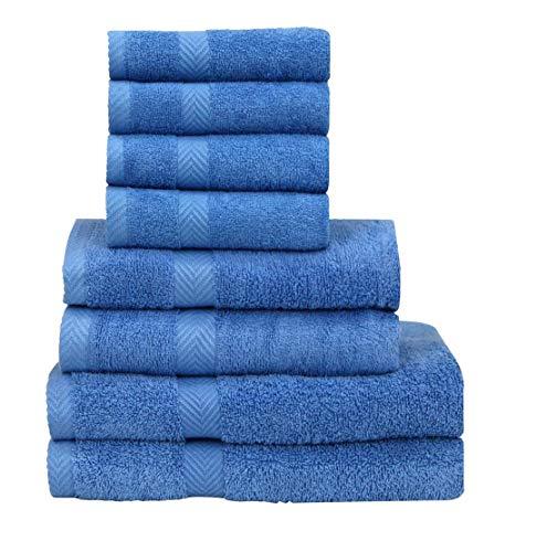 Chely Intermarket, Toallas de Juegos, Azul.Clarito 550 grs-100% algodón. Secado rápido y Ligera. Fabricado en España.(2X(70x130cm),2X(50x100cm),4X(30x50cm))