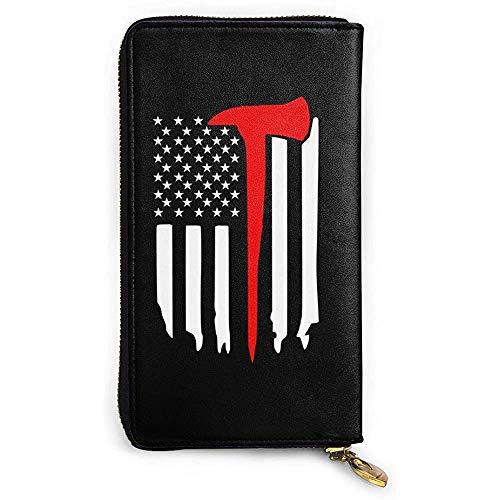 Zip Wallet,Dünne Rote Linie Axt Usa Flagge Echtes Leder Geldbörse, Modische Kreditkartenbeutel Für Party Shopping Walking,10.5(W) x19(L) x2.5(T) cm