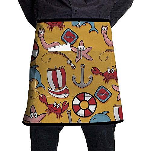 Katrine-Speicher-Fischen-Krabben-Rettungsring-Boots-Vektor-Bild-halbe Länge Schutzblech mit Taschen Unisex für Küchen-Restaurant BBQ
