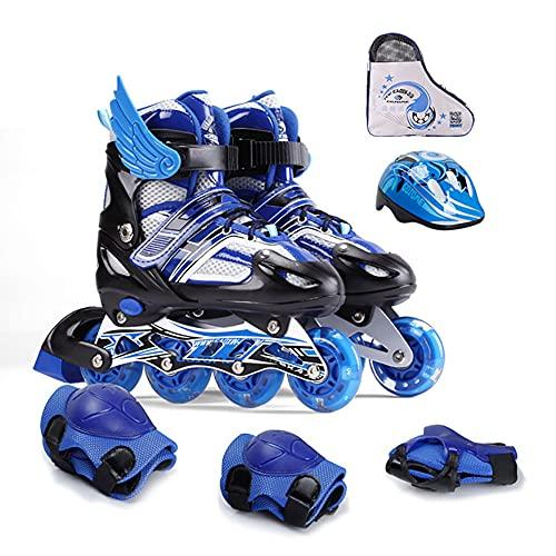 Patines en línea ajustables para niños, patines con ruedas luminosas, equipo de patinaje en línea para exteriores e interiores con cinturón de seguridad con protección de seguridad (azul, L)