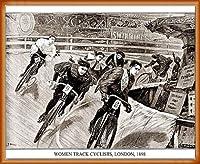 ポスター アーティスト不明 Women Track Cyclists 1898 額装品 ウッドベーシックフレーム(オレンジ)