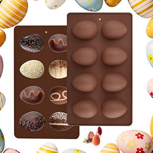 EMAGEREN 2pcs Moldes de Huevo de Pascua Moldes de Silicona Moldes de Huevos de Chocolate Moldes para Huevos de Pascua 3D Molde para Hornear de 8 Cavidades Ideal para Pasteles, Cubitos de Hielo, Jabón