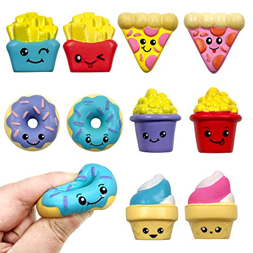 Squishies Slow Rise Assorted Food 1.5 Inch Toys – Pizza, Ice Cream Cone, Fries, Donut, Popcorn (10-Count)