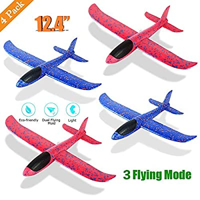 "4 Pack Foam Airplane Toys, 12.4"" Throwing Foam Plane, 3 Flight Mode Glider Plane, Flying Toy for Kids, Gifts for 3 4 5 6 7 Year Old Boy?Girl, Outdoor Sport Toys Birthday Party Favors Foam Airplane by HECCEI®"