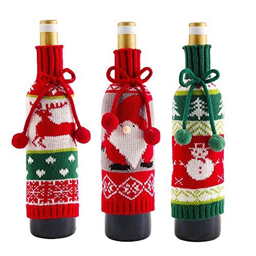 MINI Boutique 3 bolsas de vino para botellas de vino de Navidad, bolsas de regalo de Elk Santa Claus muñeco de nieve botellas de vino bolsas de punto para fiesta de Navidad, decoración de mesa de alce