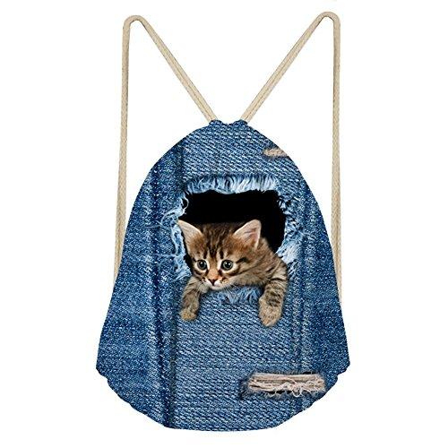 Showudesigns Sac à dos noir en jeans, avec cordon, motif d'animal, cadeau pour enfants, pour voyage, extérieur M animal 1