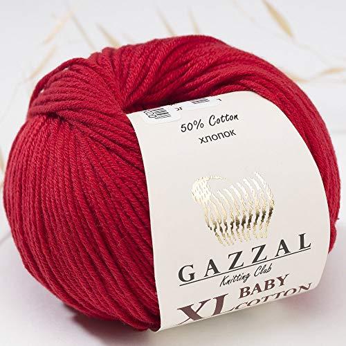 Paquete de 3 (Ovillo) Gazzal Baby Cotton XL Total 150 g / 315 m, Cada Ovillo 1,76 Oz (50g) / 105 m,...