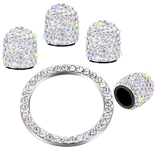 Frienda Valve Stem Caps 4 Pack Handmade Crystal Rhinestone Universal Tire Valve Dust Caps Bling Car Accessories with 1 Piece Ring Emblem Sticker for Auto Ornament (White)