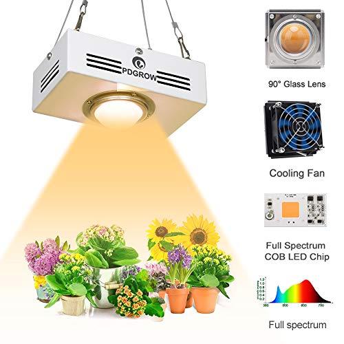 COB LED Pflanzenlampe, PDGROW Vollspektrum Pflanzenlicht LED Pflanzenleuchte Wachstumslampe 3500K Sonnenlicht 150W HPS/MH Äquivalent für Zimmerpflanzen, Gemüse, Blume Mini Größe Hoher PAR Ausgang