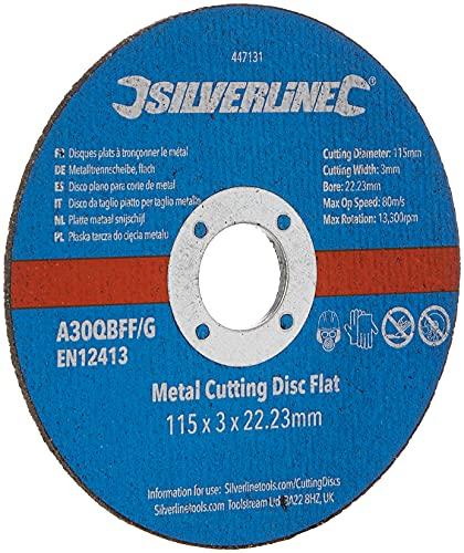 Silverline 447131 Metal Cutting Discs Flat, 115 x 3 x 22.2 mm - Pack of 10