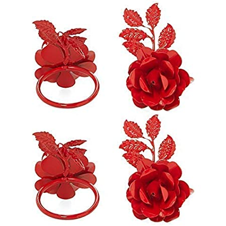Red Rose Vibhsa Flower Napkin Rings Set of 4