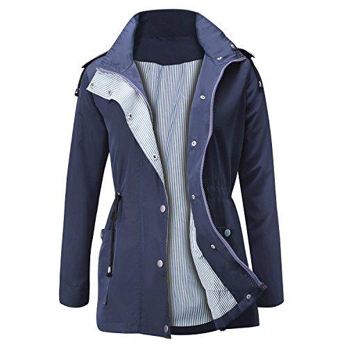 FISOUL Raincoats Waterproof Lightweight Rain Jacket Active Outdoor Hooded Women's Trench Coats Navy