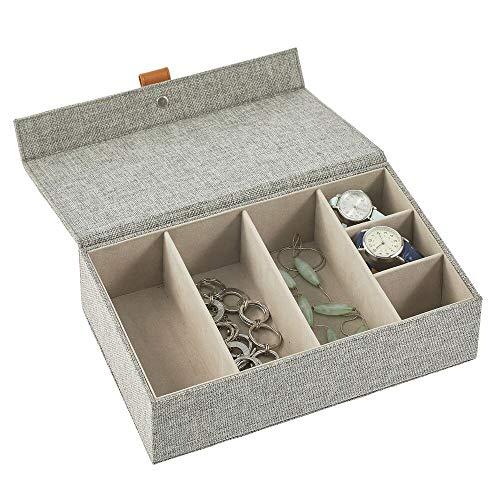 mDesign Joyero – Caja con tapa con 6 compartimentos de tela en 2 tamaños diferentes – Cajas organizadoras para pendientes, collares, pulseras, anillos y relojes – gris oscuro