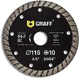 GRAFF - Disco diamantato da 115 mm per granito beton, Gres Cerame, muratura, mattonelle, mattoni – Turbo disco per smerigliatrice – 4,5 pollici